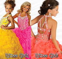 Wholesale 2015 Princess Flower Girl Dresses For Weddings Yellow Organza Beads Cascading Ruffles Girls Pageant Dress Girls Dresses Special Occasion