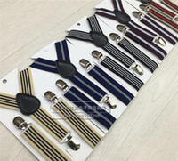 Wholesale Ancient Striped Suspender For Childrenm Suspenders Y Back Children Boys Girls Clip on Adjustable Elastic Y Back Braces Suspenders Colors