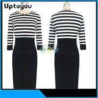 womens black dress shirt - New Womens Slim Fit Crew Neck Collar Pencil Chiffon Cotton Romper Dresses Sleeve Zebra Striped Shirt Black Skirts Dress