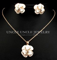 anniversary gift craft - Brand Design K Rose Gold Plated Enamel Craft White Lovely Flower Style Lady Jewelry Set Necklace Earrings KRGP