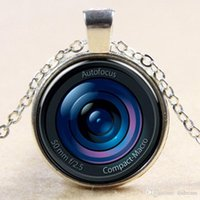 Wholesale New D autofocus cameras lens necklace retro glass digital camera scene shot pendant time gem necklaces statement jewelry for women