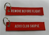 Wholesale Embroidered Keychain Aero Club Skopje Remove Before Flight Fabric Embroidery Pilot Key Chains x cm