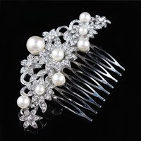 Wholesale Wedding Bridal Hair Comb Crystal And Pearl Flower Hair Jewelry Girls Hair Decorations H002