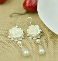 baking lobsters - The bride earrings earrings lace wedding dress accessories fashion long marriage White blossoms of the lacquer that bake