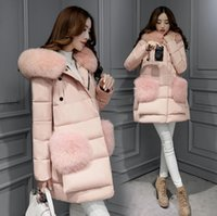 Cheap 2016 New Korean Style Women Winter Fashion Parka With Luxury Real Fox Fur Collar Plus Size Double Breasted Super Warm Coat