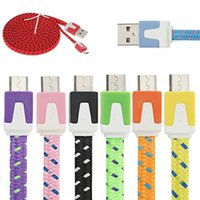 Wholesale 1M M M USB Candy Fabric Braided Noodle Flat Data Sync Charging Cable Fiber Flat Woven Charger Cord For Mobile Phone
