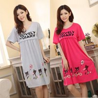 Wholesale Hot Selling Maternity Nursing Casual Cotton Blend Short Sleeve Loose Dress Fashion Bear Print Pleated Dresses Vestidos