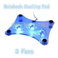 Wholesale USB Notebook Cooler Cooling Pad Blue LED Light cooler Pad Fans Transparent Notebook Cooling Fan for Laptop PC