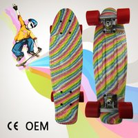 assembly long - Colored Graphic Printed Mini Cruiser Plastic Skateboard quot X quot Retro Longboard Skate Long Board No Assembly Required