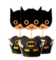 Wholesale Superheroes cupcake wrappers and toppers set the avenger baby party birthday decorations batman shower supplies party