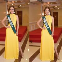 Cheap 2014 Miss World Pageant Dress Venezuela Yellow High Crew Neckline Illusion V Side Slit Yellow Floor Length Prom Dresses Dhyz 01