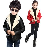 Wholesale Winter Thick Warm Jackets Boy and Girl Leather Coat Kid Coat Children Jackets Outwear J1D532