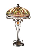 antique stained glass table lamp - Tiffany Antique Bronze San Boehme Table Lamp