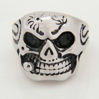 wholesale biker jewelry - Men Huge Silver Skull White Eye Yellow Cigar CZ L Stainless Steel Biker Ring Fashion New Cool Demon Jewelry High Quality RN2812