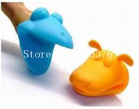 Wholesale 500pcs hippo Mickey dog model mouth Pliable Silicone Pot Holder Silicone glove Oven mitt heat insulation gloves colorful