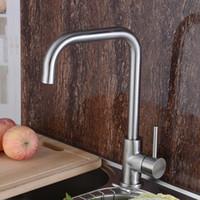 Wholesale Centerset Contemporary long Spout solid brass Kitchen Faucet Chrome Finish Deck Mounted Sink Mixer Tap A BL1007
