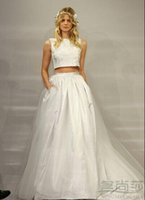 A-Line designer wedding dresses - Two Piece Wedding Dresses Runway A Line Bateau Sleeveless Floor Length White Tulle Lace Newest Designer Vestidos Bridal Party Gowns