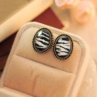 Wholesale Oval Leopard Grain Small Stud Women Fashion Earrings Style to Choose From