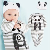 baby boy feet - Panda Baby Rompers Caps Boys Clothing Set Toddler Hat One Pieces Suits Overall With Foots Grey Stripe Long Sleeve Pajamas