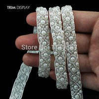 bracelet en forme de ruban achat en gros de-9yards Craft Braided Bracelet Perles Falsées Pierres Strass Garniture Brodé Dentelle Ruban Trim Costume Applique Couture sur Trim 0.9Cm T478