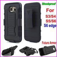 achat en gros de les cas de galaxie pour la ceinture-Les affaires futures Armor Impact hybride dur cas couverture + ceinture Clip étui béquille Combo antichoc pour Samsung Galaxy S6 bord S6 S5 S4 S3