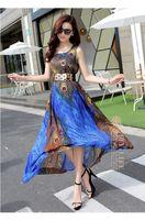 big pendulum - New Women dresses summer fashion High quality dress bohemia beach casual chiffon dress peacock feather printed big pendulum dress