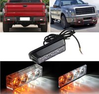 Wholesale 4LED V W Emergency Vehicle Deck Dash Grille Strobe Warning Light White Amber