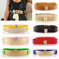 Wholesale Fashion Women Waist Band Elastic Mirror Metal Waist Belt Leather Metallic Bling Gold Plate Wide Belt