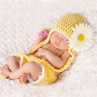 Cheap Crochet Baby Hats Newborn Knit Wrap Photography Props Costume Outfit Newborn Infant Set Handmade Free Shipping