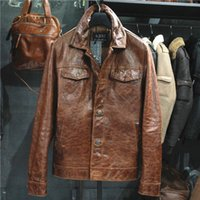 Wholesale Men s cultivate one s morality leisure motorcycle jacket with thick leather coat true leather jackets for men