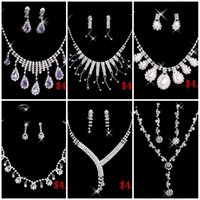 jewelry cheap - 2015 Cheap Styles Necklace Earrings Rhinestone Big Crystal Bridal Accessories Bridesmaid Lady Women s Prom Party Wedding Jewelry Sets