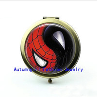 Wholesale New Arrival Ying Yang Pocket Mirror Spiderman Ying Yang Jewelry Photo Mirror Small Cosmetic Mirror