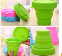 Wholesale Candy color portable travel silicone folding cups outdoor sports telescopic gargle cup