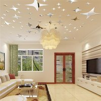 bedroom ceiling decorations - Modern Design DIY Stars Mirror Wall Stickers Ceiling Living Bed Room Background Decoration Mirror Surface Sticker