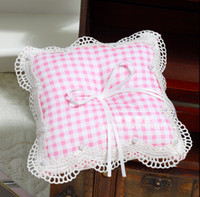 Wholesale Pink tartan design Check Pattern England Ring Pillows For Weddings With Ribbon Bow Lace Edge With Pearl Beads