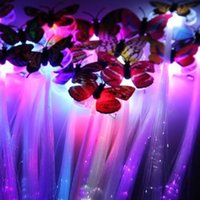 Wholesale Sale Whole light Up toys led Colorful Butterfly Luminous fiber pigtails braids flash dazzling party halloween birthday decorations