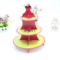 Wholesale 2PCS Yellow red Paper folding food shelf rack Cupcake Stand Tree Holder Muffin Serving Birthday Cake wedding birthday party