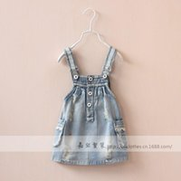 Cheap kids suspender skirt Best little girls denim dress