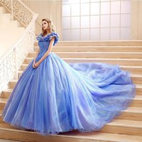 Wholesale Luxury Wedding Gown Inspire by Cinderella Dress Princess Style Ruched Capped Sleeves Lace up Back Blue Organza Cathedral Train Ball Gowns