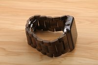 Wholesale New Ebony Wood Link Bracelet Stainless Steel Butterfly Clasp Wooden Natural Wrist Watch Strap With Adapters For Apple Watch Band iWatch MM
