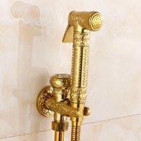 Wholesale Bathroom Toilet Hand Held Shattaf Bidet Diaper Sprayer Kit Wall Mount Golden Toilet Flusher Bidet Sprayer Set