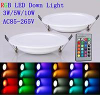 led rgb remote bulb 5w - 2015 LED Panel Light W W W RGB LED Ceiling lamp AC85 V Color Downlight Bulb Lamp Flat light with key Remote Control led lights