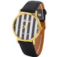 Wholesale Popular Geneva Stripes Stripes Watch PU Leatheroid Women Analog Quartz Wrist Watches