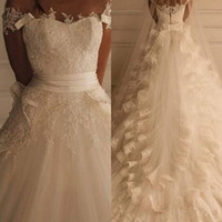 gorgeous fabrics - Gorgeous Lace Wedding Dresses Long Court Train Bridal Gowns A Line Sweetheart Neck Zip Back Beading White Ivory Tulle fabric