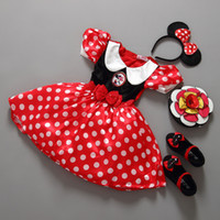 no brand band fashion clothes - Girl Minnie Dress Christmas Dot Red Girls Santa Clothes Child Fashion Cute Clothes with Hair band