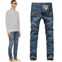 Wholesale BALMAIN Men s Slim jeans motorcycle jeans pants feet size
