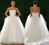 Wholesale 2015 Watters New Plus Size Wedding Dresses Sweetheart Sequins Draped Sweep Train Tulle Wedding Bridal Dress Ball Gown2015045