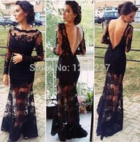 Cheap High Quality 2014 Design Long Sleeve with Applique Peacock Green Prom Dresses Sexy Backless Evening Dress