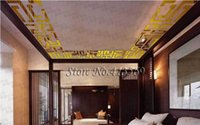 abstract acryl - Home decoration simple D acryl wall sticker house decorative luster sticker wall paster mirror plane gold silver
