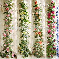 Wholesale Details about M Artificial Silk ROSE Fake FLOWER Ivy Leaf Garland Plants Home Wedding Decor